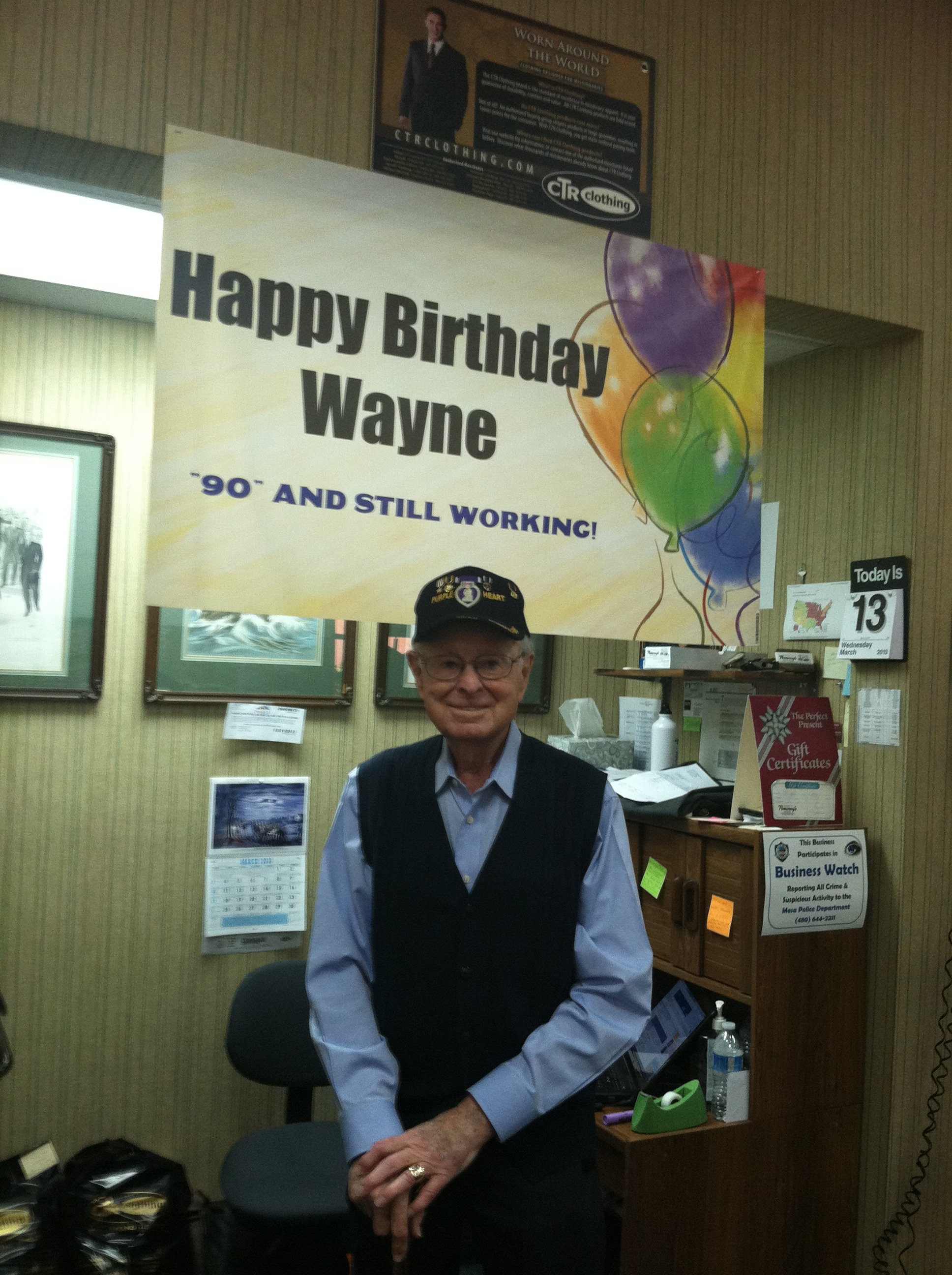 Wayne C. Pomeroy, Owner Pomeroy's Men's Store, Mesa's Downtown Missionary Outfitters, Turns 90.