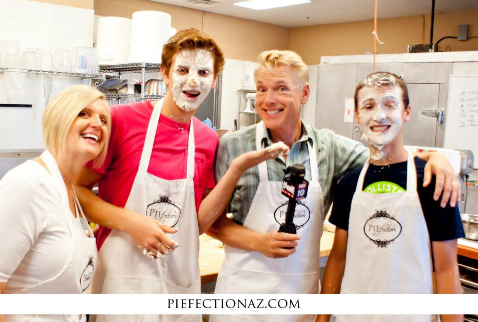 Piefection Pie Shop In East Mesa Serves Up Delicious Pies Along With Fun Events, Such As The Recent Pie-eating Contest Where (l To R) Owner Cheryl Standage, Fox 10's Cory McCloskey, Tanner Standage And Wyatt Henkel Joined In The Fun. Photo Courtesy Of Cheryl Standage.