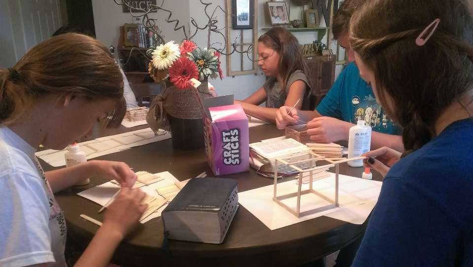 "Young Women From The Ellsworth Ward, Mesa Skyline Stake, Build Rameumptons Out Of Popsicle Sticks, As Part Of Their ""BOM Party,"" During Which They Read The Book Of Mormon Cover To Cover In A Weekend.  Photo Courtesy Of Sara Mathews"
