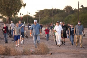 Members of the Chandler West Stake participate in cleanup efforts at the Chandler Airport as part of the Chandler For Our City Day. Photo by Garry Wilmore.