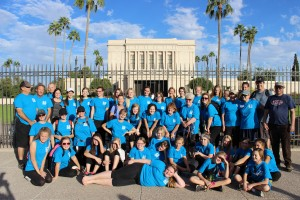 The Young Women from the Elmwood Ward completed 2,200 baptisms for the dead, indexed 22,000 and culminated with a 22-mile walk from the Gilbert Temple to the Mesa Temple. Photo by Marie Renard