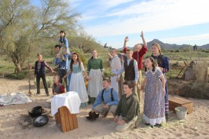 Youth from across the Gilbert Temple district come together to produce a music video portraying early Arizona settlers. The video will be shown between choreographed songs as part of the Cultural Celebration on March 1 at Gilbert's Discovery Park. Photo by Evelyn Hendrix.