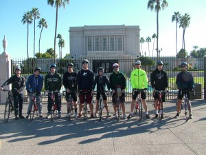 Young men and their leaders--including (l to r) Ethan Carroll, Jacob Fisher, Bishop Nathan Andersen, Kelly Mullenaux, Chandon Herring, Tristan Mell, Jeremy Johnson, Chad Thompson, Ammon Krauser and Dallin Thompson--recently completed the Tour de Temples, a 57-mile bike ride from the Gilbert  to Mesa and on to the Phoenix temple. Photo by Kirstie Thompson