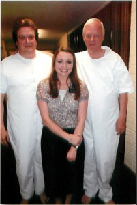 Michael Morton (l), with Sister Kelsey Hamstead and Brother Ken Russell, converted from Judaism and joined the Church of Jesus Christ of Latter-day Saints on his 57th birthday. Photo courtesy Michael Morton.