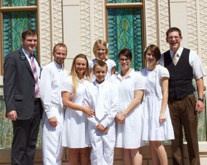At an extended zone conference, Rachel Begleman shared her family's conversion story, saying they encountered the Church when they had been experiencing trials, both individually and collectively. Shown (l to r) are Elder Cash Hancock, Terry, Rachel, Madison (top), Adam (son), Ryan (daughter) and Elder Jakobe Swenson.