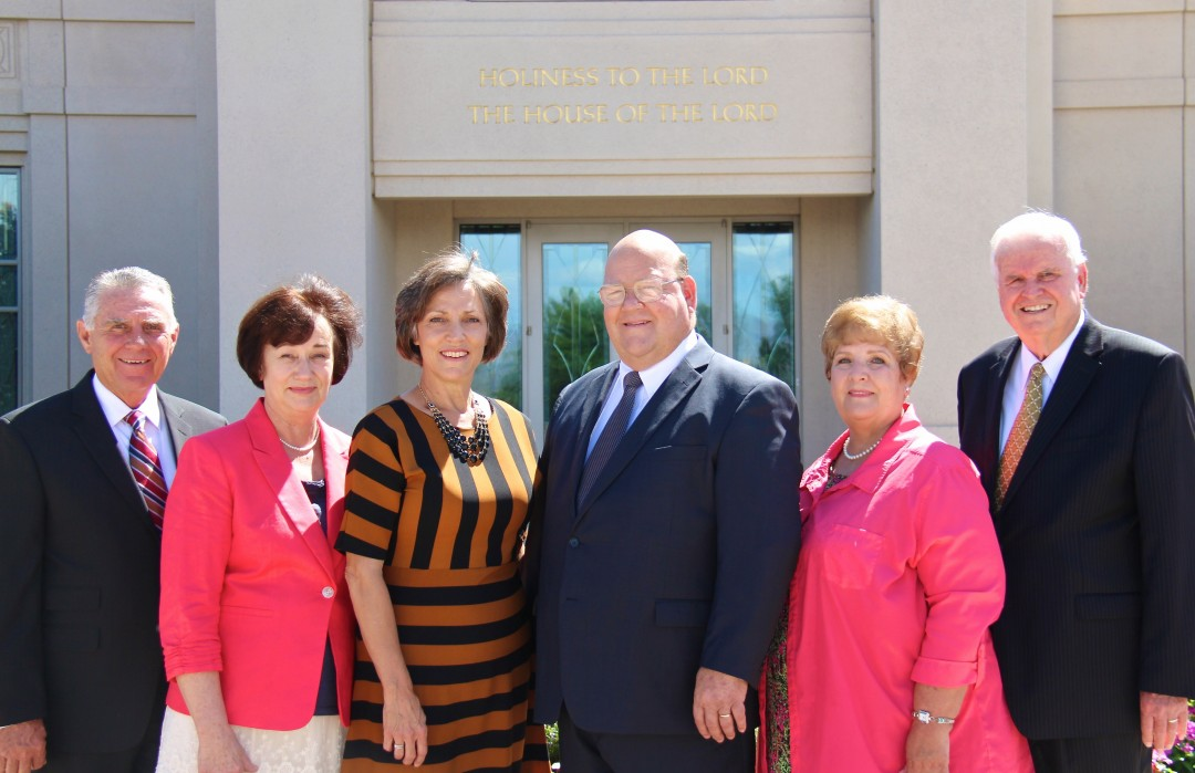 The new presidency for The Gila Valley Temple will begin serving in November with (l to r) Calvin Allred as second counselor, his wife Susan as assistant matron, Nona Kay Udall Herrington, as matron with her husband Mark Clayton Herrington as temple president and Susan Biggs, assistant matron, and her husband, Thomas Biggs, first counselor.