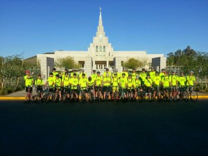 Gilbert 6th Ward Young Men and their leaders bike 53 miles on their Tour de Temple ride from the Phoenix Temple to the Mesa Temple and then to the Gilbert Temple.