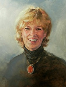 """Fine artist, Gini Heywood, depicted in the self-portrait above, was recently honored as one of Arizona's """"Most Notable Women Artists."""" Painting by Gini Heywood"""