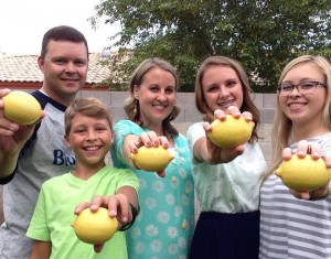 The Bingham family started a business of making others' smile by sending them messages written on lemons. Photo courtesy of Emily Bingham