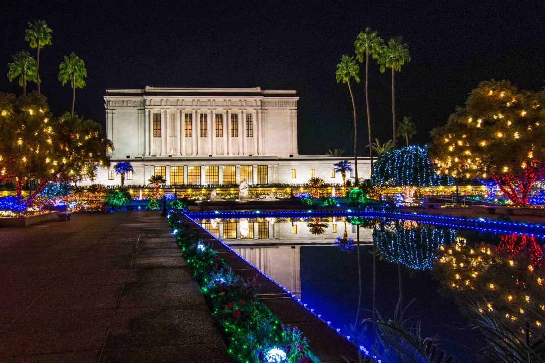 In addition to the dazzling display of colorful lights, the Mesa Temple Christmas Lights will offer an interactive feature this year that is meant to make the display attractive to visitors during the day as well as at night. Photo by John Power, Biltmore Photo