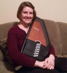 Tessa Turk-Baxter and her chorded zither, or autoharp. Photo by Allison Beckert.