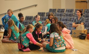 Girl Scouts go nuclear– girls work together on math and science based projects. Photo courtesy of Leandra Huffer, Cactus-Pine Girl Scouts of Arizona.