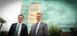 Thomas Grier (l) and Chad Heywood (r), founders of Sun Devil Saints, stand in front of the Fulton Center at Arizona State University. Photo by Robin Finlinson