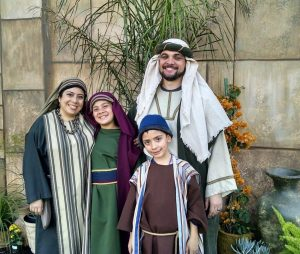 The Perry family in costume for the Mesa Temple Easter Pageant