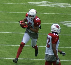 Wide receiver Michael Floyd at the 2012 training camp. Photo by Broderick Delaney via Flickr