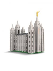 Caption 1: The Salt Lake Temple model features 1,725 pieces and features custom bricks. Most builders will take between 4-6 hours to construct it. Photo courtesy of Tim Calton.