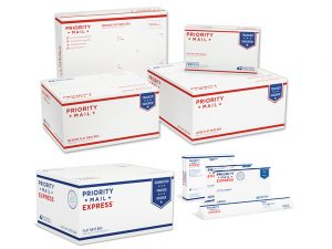 US Postal Service Flat Rate Box assortment, packaging available free at your local USPS location. Photo by USPS.com