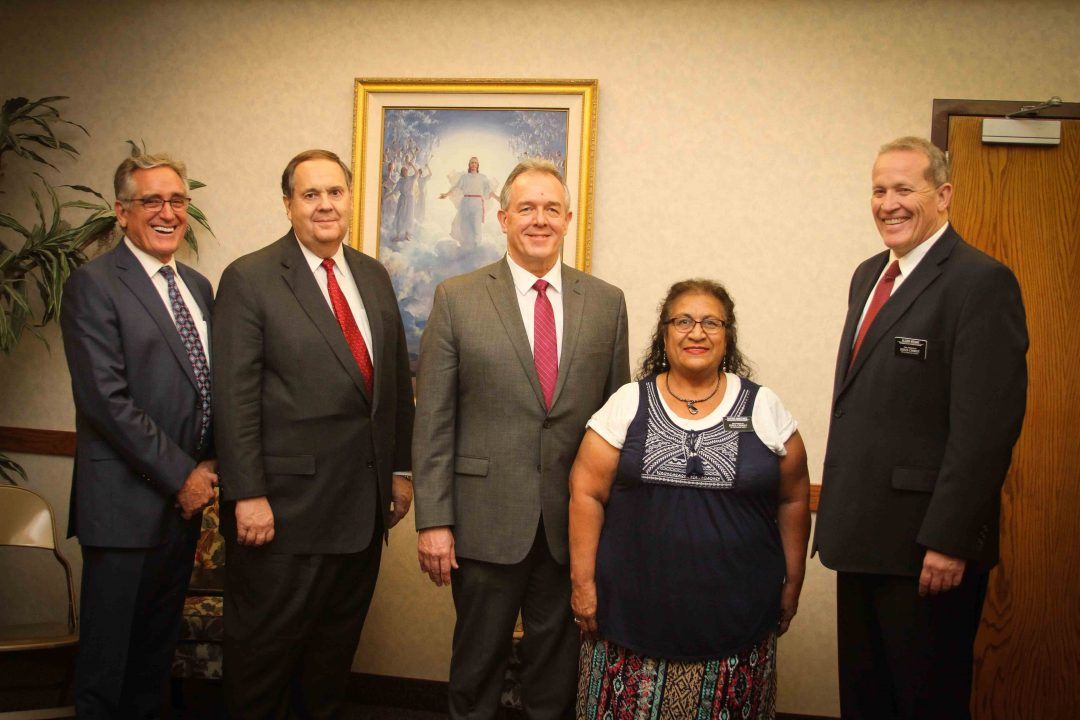 Prison ministry Left to right: President Al Jensen, Area Authority Elder William Stoddard, Phoenix Stake President Steven Johnston, Sister Lucy Martinez and Elder Robert McKay at a jail ministry training meeting. Photo by Robin Finlinson
