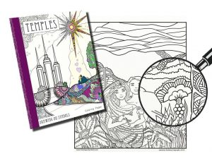 "Coloring book artist, Jeanette Siufanua, combined her interest in coloring and her love for the temple and its sacred symbols in a recently released adult coloring book called ""Temples: Drawing on Symbols."" Artwork by Jeanette Siufanua"