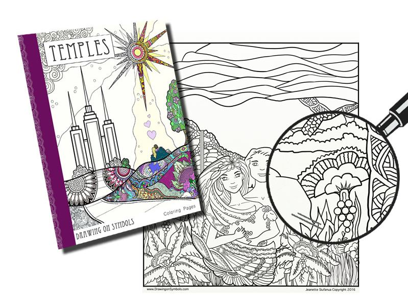 "Mormon Coloring Book  Coloring Book Artist, Jeanette Siufanua, Combined Her Interest In Coloring And Her Love For The Temple And Its Sacred Symbols In A Recently Released Adult Coloring Book Called ""Temples: Drawing On Symbols."" Artwork By Jeanette Siufanua"