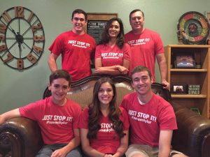 The Wren family (back row left to right - Jack, Patti, and Bill Wren; front row Mark, Allie (Bryson's wife) and Bryson Wren) show off their Red T-shirts, #saveaskyler, Just Stop It! Photo Courtesy of the Wren family