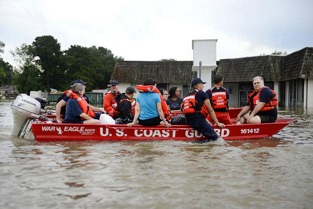 Louisiana Flood Coast Guardsmen Rescue Stranded Residents From High Water During Severe Flooding Around Baton Rouge. Baton Rouge Is Near Denham Springs. Coast Guard Photo By Petty Officer 3rd Class Brandon Giles, Courtesy Of US Department Of Agriculture Under CC BY 2.0.