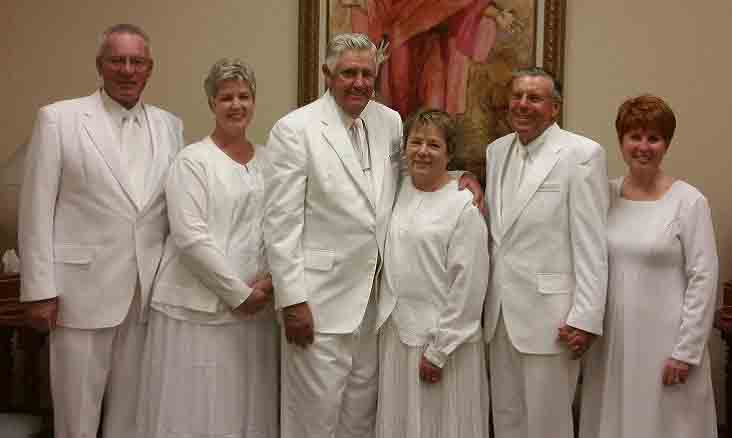 Temple presidency of the Snowflake Arizona Temple. (L to R): President Richard Q. and Sister Linda L. Miller, President George Merlin and Sister Sherylin Stratton Hancock, President David W. and Sister Diane Scott. Photo by Milo Smith