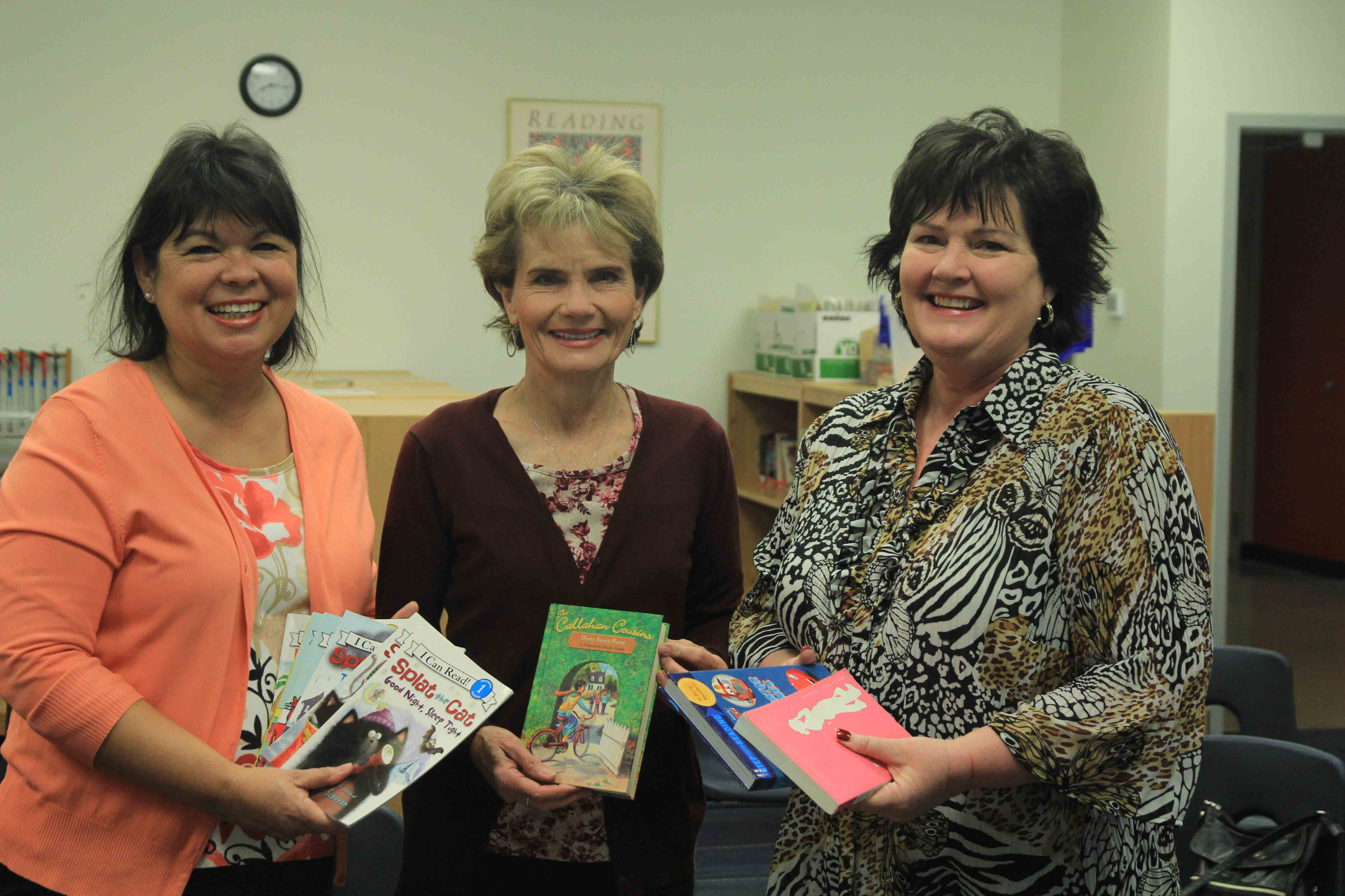 ANWA Book Drive Pictured Are Left To Right: ANWA President Past Deb Eaton, Principal Susan Stradling, ANWA President Melinda Sanchez. Photo By Nico Sanchez Photography.