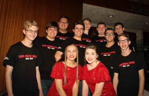 Eleven of the 13 LDS members of Chandler High School's Barbershop Choruses before a performance at the Chandler Center For the Arts. Pictured are (left to right front row): Alan Braudt, Isabella Kelsey, Sarah Gove and Nelson Leany. Middle row: Caleb Dowdle, Isaac Dowdle and Cyrus Tolman. Back row: Ben Poulson, Menlo Grohman, Joseph Gove and David Davis. Photo by Robin Finlinson