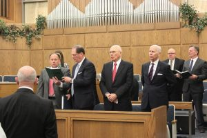 Church leaders—including Elder Dallin H. Oaks of the Quorum of the Twelve Apostles, Elder Von G. Keetch, General Authority Seventy (left of Elder Oaks), and Elder Lance B. Wickman, general counsel of the Church and an emeritus General Authority Seventy—give instruction at a recent Religious Freedom Conference. Photo by Scott P. Adair