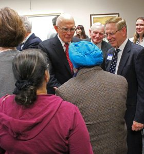 Elder Dallin H. Oaks greets special guests during a reception following the regional Religious Freedom Conference held in Arizona this past January. Photo by Scott P. Adair