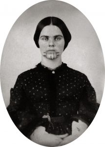 Olive Oatman in about 1857 after her repatriation. Her striking chin tattoos show her affiliation with the Mohave. Photo courtesy of Beinecke Rare Book and Manuscript Library via Wikimedia Commons.