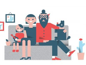 Andrew finds happiness in creativity, as evidenced by this family portrait of himself, his wife and son.  Photo Courtesy of Andrew Beck