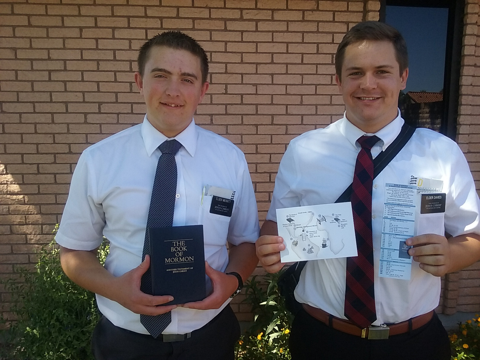 Elder Brayden Merritt And Elder Sean Davies Of The Arizona Gilbert Mission Placed 20 Copies Of The Book Of Mormon In One Day, Using The Approach Developed By Lorin And Lina Hatch, Member And Leader Support Missionaries In That Mission. Photo Courtesy Of Lorin Hatch