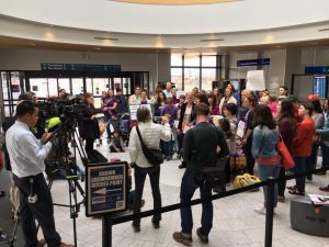 MWEG participated at a press conference on unethical deportations this past spring at the Salt Lake Airport. Photo courtesy of MWEG.