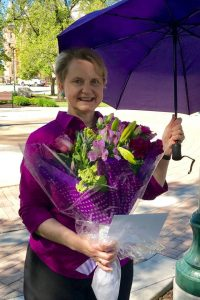Sister Linda Hoffman Kimball participates in Operation Purple Rain, a MWEG card drive for Utah Rep. Jason Chaffetz. Purple was, among other things, the color of the Suffragists who championed women's rights. Photo by Sharlee Mullins Glenn.