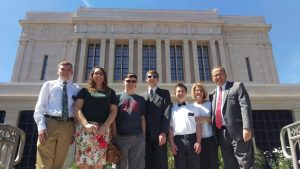 Like full-time missionaries, although Young Church Service Missionaries in the Phoenix area live at home, they serve with a companion and participate in district and zone activities, such as the trip to the Mesa Temple pictured above that included (l to r) Elder Bryson May, Sister Hailey McKendrick, Elder Scotland Hillman, Elder Talon Rohner, Elder Parker Bradshaw, with Arizona YCSM Mission Leaders Sister Cindy Packard and Elder Blair Packard. Photo courtesy Elder Blair Packard