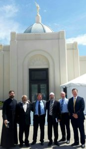 Among the approximately 100,000 who toured the Tucson Arizona Temple during the public open house were six religious leaders, all members of a group seeking to foster interfaith understanding. From left: Father Peter Alan Helman, St. Phillips in the Hills; Reverend Edwin Donaldson, Donald Prince Chapel; Imam Watheq Al Obaidi, Islamic Center of Tucson; Rabbi Samuel Cohen, Temple Manu-El; Pastor David Moore, Seventh-day Adventist Church; and Bishop Judd Curtis, The Church of Jesus Christ of Latter-day Saints, Central Ward. Photo courtesy of Debbi Weitzell, Church media contact.