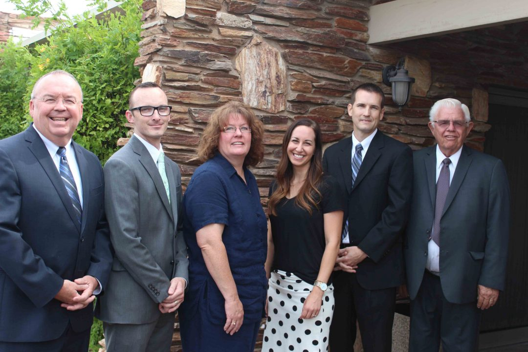 The team at Meldrum Mortuary and Crematory, pictured here, are professional and compassionate in their line of business. L to R: Mark Meldrum, Jr., Eric Williams, Gwen Petersen, Ashley Nelson, Jaren Petersen, Nick Coleman. Photo by Emily Jex Boyle.