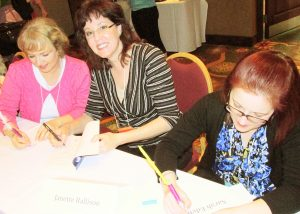 Authors  Donna Hatch, Janette Rallison and Sarah Eden at ANWA Writers Conference. Photo by Cindy R. Williams.