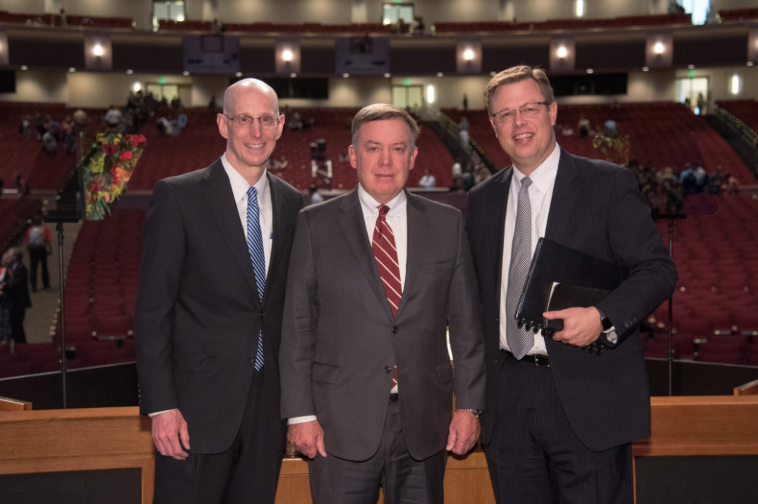 Elder Henry B. Eyring, ASU President Michael Crow, and BYU Idaho President Paul Gilbert at BYU Idaho where President Crow Delivered the devotional address.