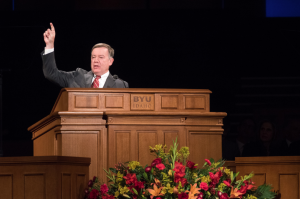 President Crow delivering his address. Photo by BYU-Idaho
