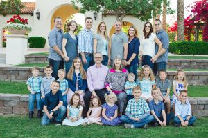 Sandi Nielson, pictured center, with the people she loved most of all: her husband, Curtis, and their children and their spouses, (top row, left to right), Nicholas and Serina Haines, Jace and Heidi Larkin, Jason and Carrie Nielson and Meggan and Peter Nielson, and their 15 grandhildren. Photo courtesy Heidi Larkin.