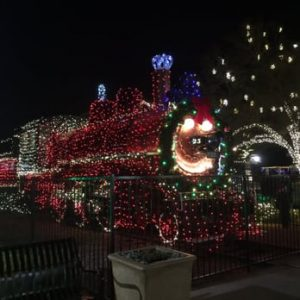 Train Decorated with Lights Photo by: TheRailroadPark.com