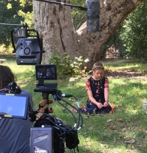 Evie Clair films an interview video for America's Got Talent. Photo courtesy of Hilary Abplanalp.