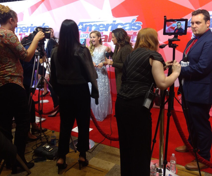 Evie takes to the red carpet for some star-studded AGT interviews. Photo courtesy of Hilary Abplanalp.
