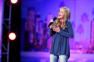 Always at home on the stage, LDS teen Evie Clair stuns the AGT judges. Photo courtesy of NBC.