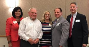 After a recent BYU Management Society meeting, Heather Sandstrom (left to right), president of the Phoenix East Chapter, thanks Roc Arnett, of the East Valley Partnership, LeAnn and Edward Basha III (Trey), who spoke at the luncheon meeting, and John Lewis, also of the East Valley Partnership, for their participation in the meeting. Photo courtesy Heather Sandstrom