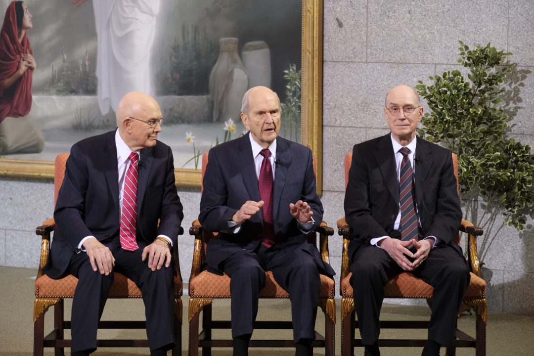 New president of The Church of Jesus Christ of Latter-day Saints, President Russell M. Nelson, announced the new First Presidency on Tuesday, January 16, 2018, to Latter-day Saints worldwide. President Nelson (center), President Dallin H. Oaks (left) and President Henry B. Eyring (right). ©2018 BY INTELLECTUAL RESERVE, INC. ALL RIGHTS RESERVED.