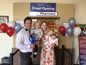 Kyle Clonts, PharmD, is the pharmacist at the new PIR clinic, pictured here at the grand opening with his wife Jessica Clonts, and children Oliver and Madelyn. Photo courtesy of Kyle Clonts.